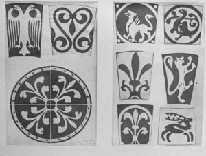 Details of lithographs of the paving tiles from St Pierre-sur-Dives, 